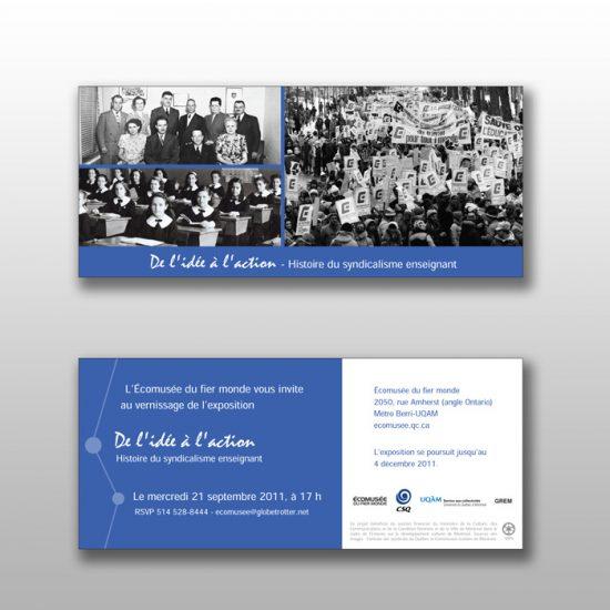Invitation De l'idée à l'action: histoire du syndicalisme enseignant - Carton promotionnel | Coquelicot design