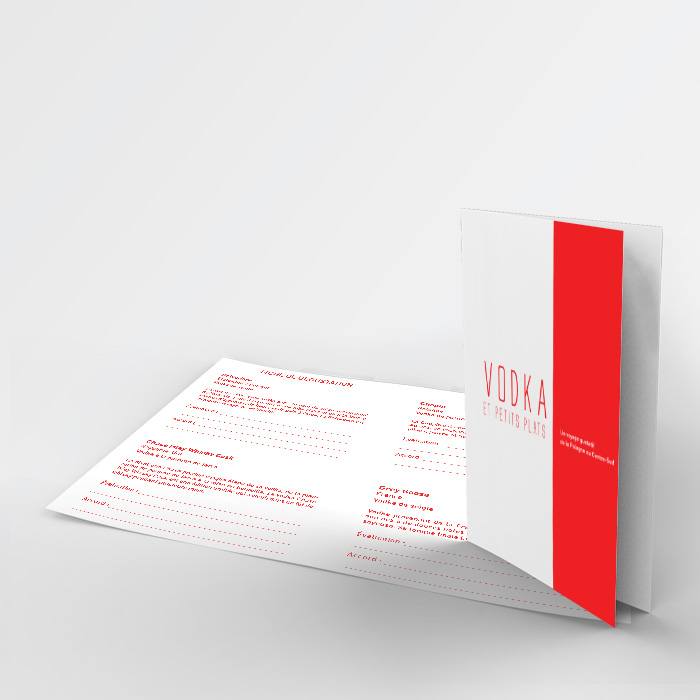 Carnet de dégustation - Vodka et petits plats | Coquelicot design