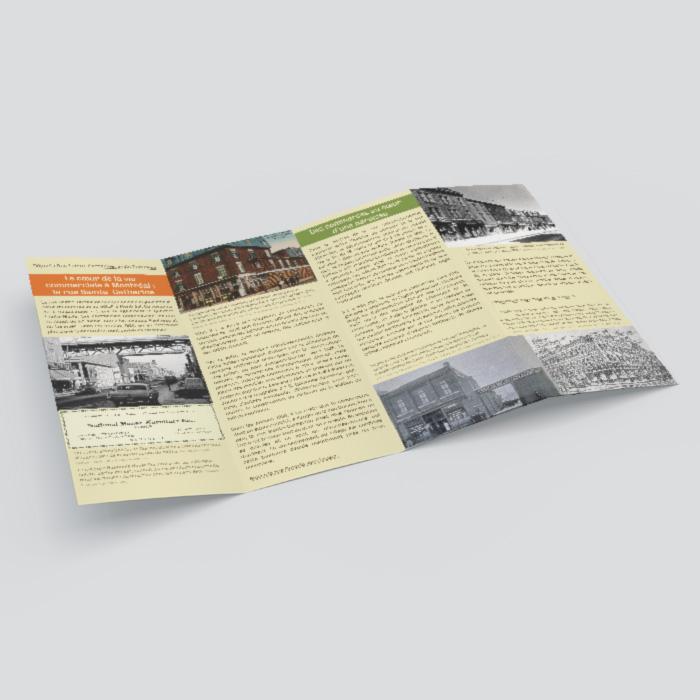 Dépliants - Faire les magasins, parcours historique dans Sainte-Marie | Coquelicot design