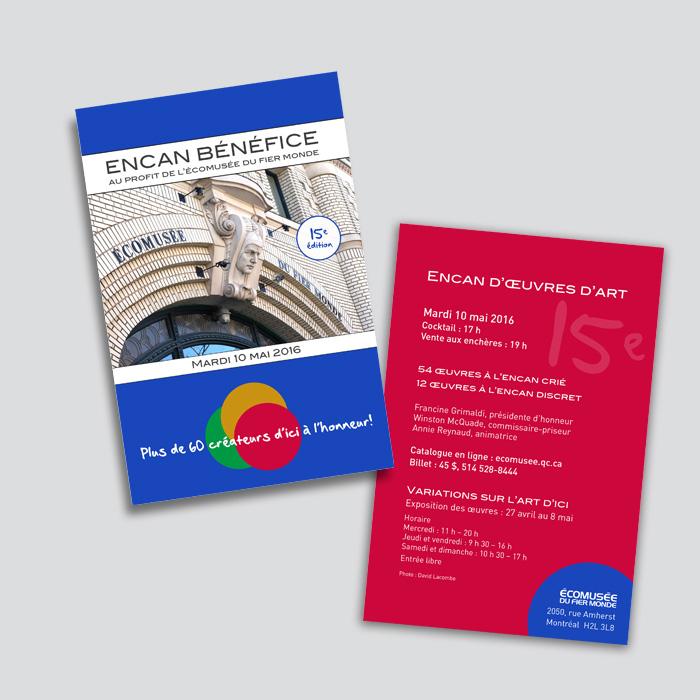 Cartons promotionnels - Encan bénéfices Écomusée du fier monde | Coquelicot design